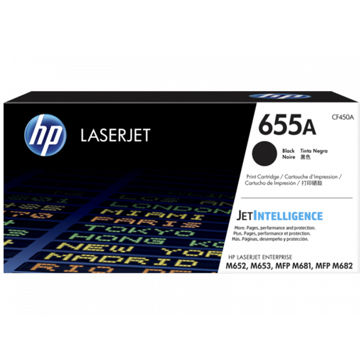 HP 655A Black Original LaserJet Toner Cartridge CF450A