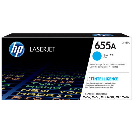 HP 655A Cyan Original LaserJet Toner Cartridge CF451A